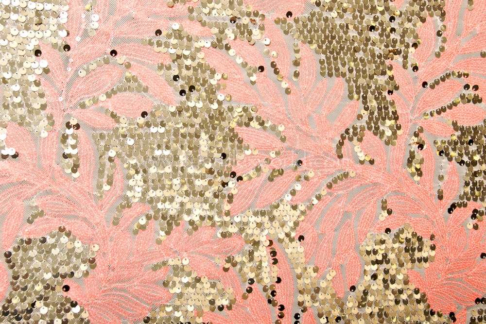 Stretch Sequins (Coral/Gold/Nude)