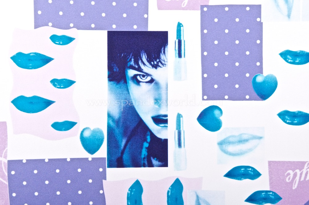 Printed Spandex (Blue/Multi)