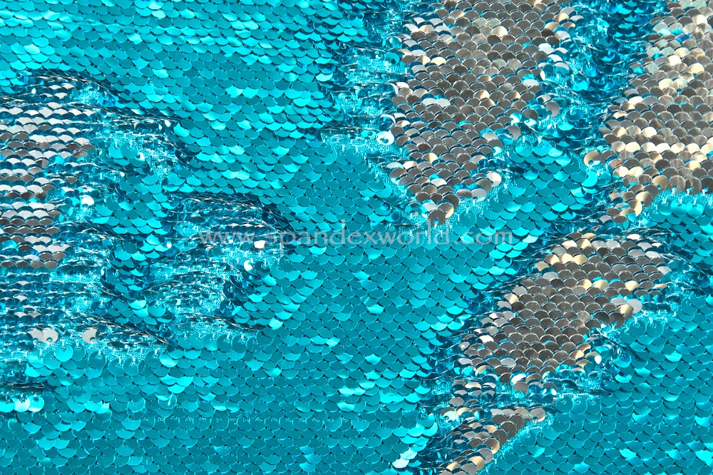 Reversible Stretch Sequins (Turquoise/Silver)