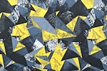 Abstract Print Spandex (Black/Yellow/Multi)