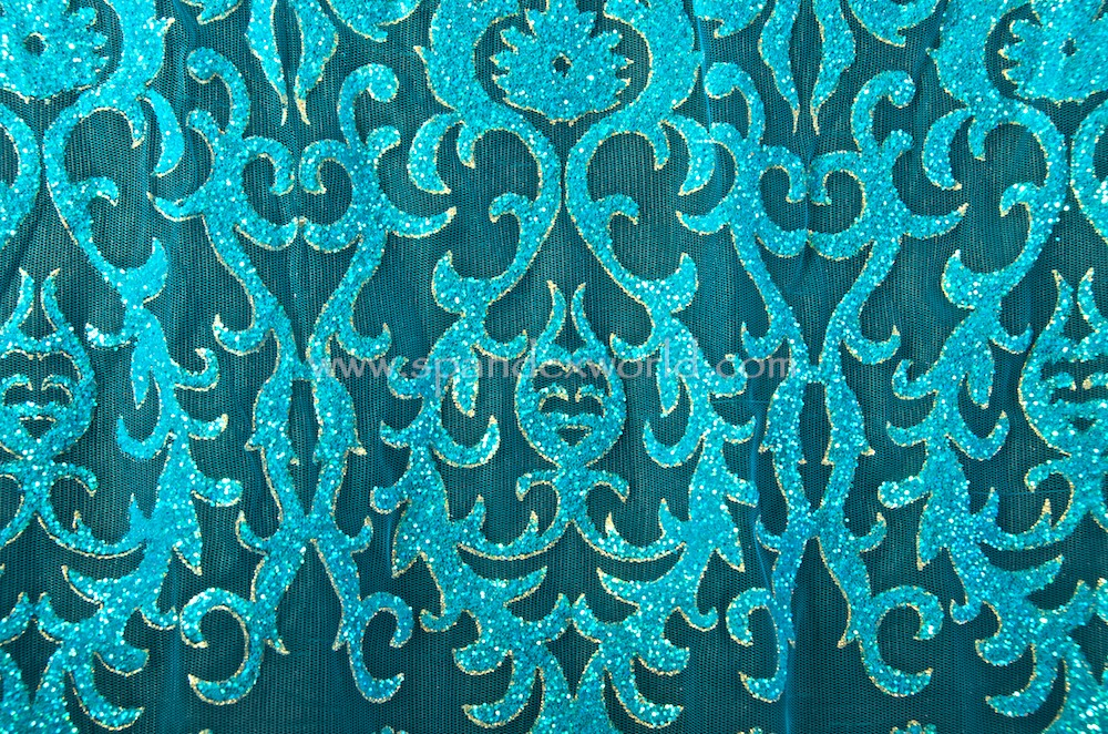 Cracked ice lace (Turquoise/ Pearl/Gold)