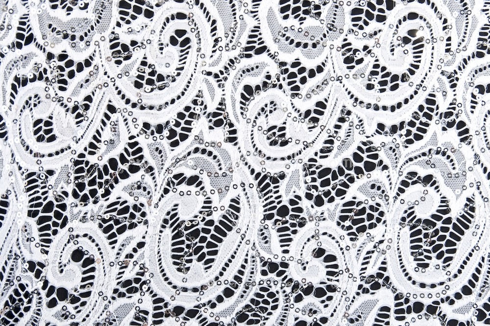 Stretch Sequins Lace (White)