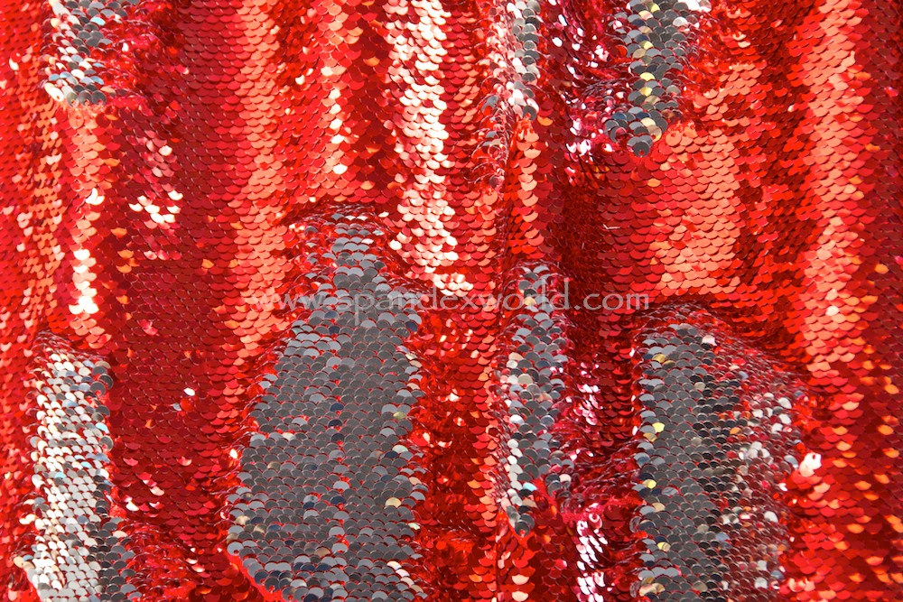 Reversible Stretch Sequins (Red/Silver)