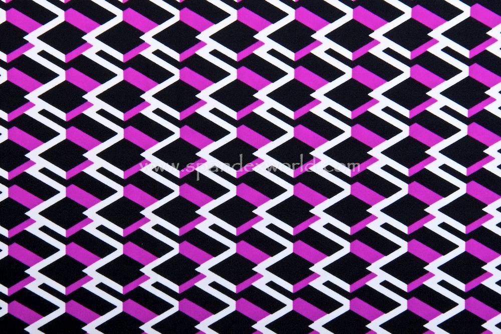 Abstract Print Spandex (Black/Purple/White)