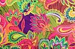 Paisley Print Spandex (Fuchsia/Green/Purple/Multi)