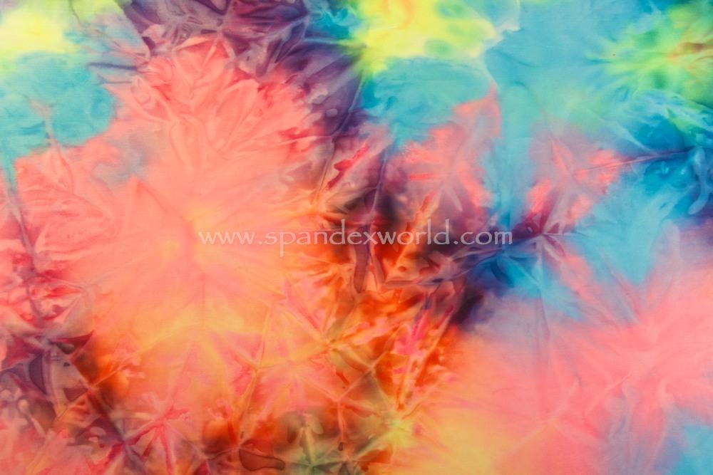 Tie dye spandex (Aqua/Purple/Coral/Multi)