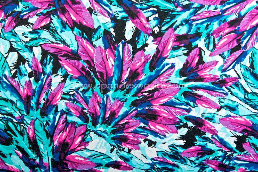 Feathers Prints (Aqua/Hot Pink/Multi)