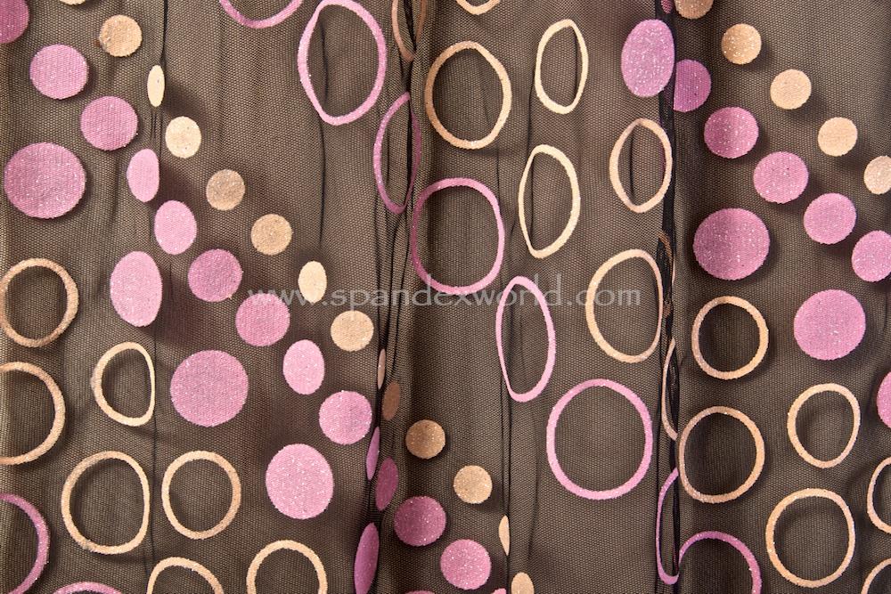 Glitter/Pattern Mesh (Black/Pink/Peach Glitter)