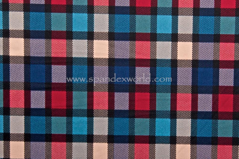 Plaid Printed Spandex (Black/Red/Blue/Multi)