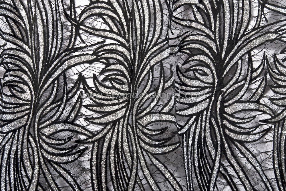 Stretch Sequins Lace (Black/Black/Silver)