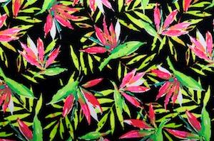 Leaf Printed Spandex (Black/Green/Fuchsia/Multi)