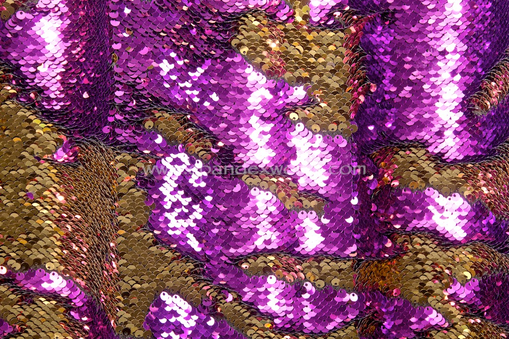 Stretch Sequins (Purple/Gold)