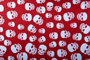 Skull Print (Dark Red/White)